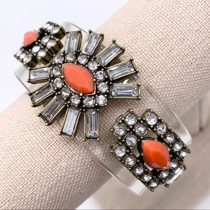 J. Crew Coral Jeweled Lucite Cuff Bracelet